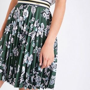 Ted Baker green pleated floral skirt